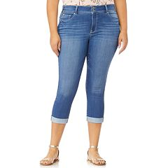 Juniors' Plus Size WallFlower Ultra Skinny Rolled Cuff Crop Jeans