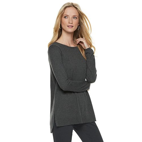 Women's ELLE™ Lace-Trim Bow Tunic Sweater