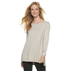 Women's ELLE™ Lace-Trim Bow Tunic Sweater