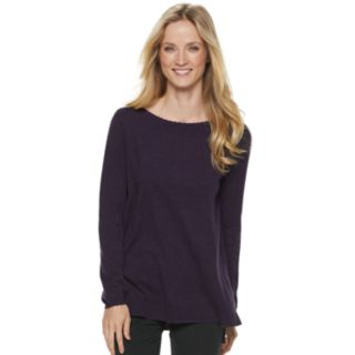 Women's ELLE? Lace-Trim Bow Tunic Sweater