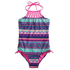 f41890fcfd55b Girls 7-16 & Plus Size SO® Sunset Tribe Halter One-Piece Swimsuit