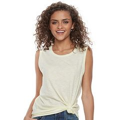 Juniors' SO® Knot-Hem Muscle Tank