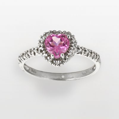 10k White Gold Lab-Created Pink Sapphire and Diamond Accent Heart Ring