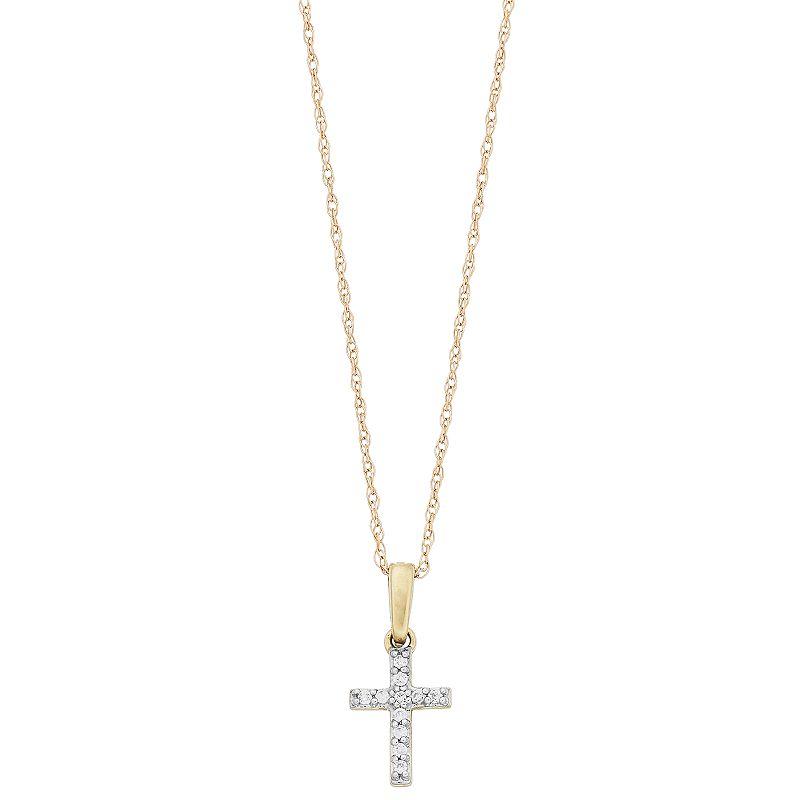 """Two Tone 10k Gold Diamond Accent Cross Pendant Necklace. Women's. Size: 18"""". White"""