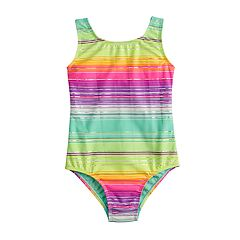 Girls 4-16 SO® Stripe Shimmer One-Piece Swimsuit