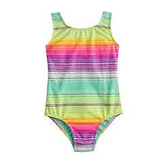 Girls 4-16 SO® Stripe Shimmer One-Piece Swimsuit