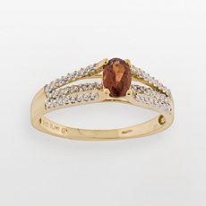 10k Gold Garnet & Diamond Accent Ring
