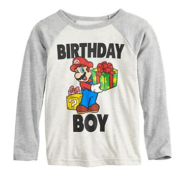 Boys 4 12 Jumping BeansR Super Mario Bros Birthday Boy Raglan Graphic Tee