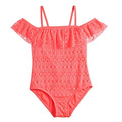Girls 7-16 SO® Off-The-Shoulder Crochet One-Piece Swimsuit