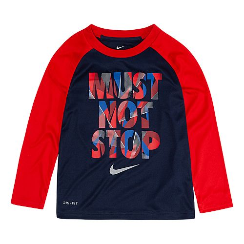 """Toddler Boy Nike Dri-FIT """"Must Not Stop"""" Raglan Tee"""