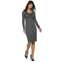 Women's Jennifer Lopez Cowlneck French Terry Sheath Dress