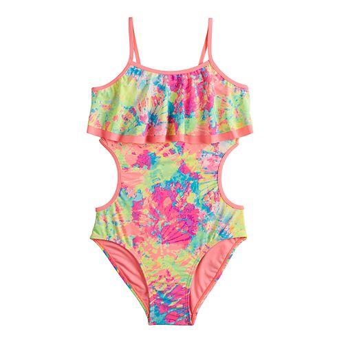 7fab30740b6 Girls 7-16 SO® Tie Dye Party Cut-Out One-piece Swimsuit