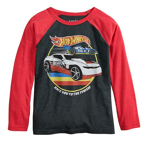 """Boys 4-12 Jumping Beans® Hot Wheels """"Race You To The Finish"""" Retro Raglan Graphic Tee"""