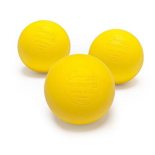 Champion Sports NOCSAE 3 Count Lacrosse Ball Set - Yellow