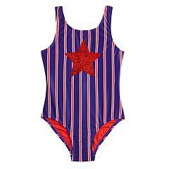Girls 7-16 SO® Retro Americana Flip Sequin One-Piece Swimsuit