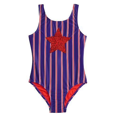 4601404f6 Girls 7-16 SO® Retro Americana Flip Sequin One-Piece Swimsuit