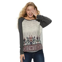 Juniors' Rewind Knit-to-Woven Long Sleeve Tee