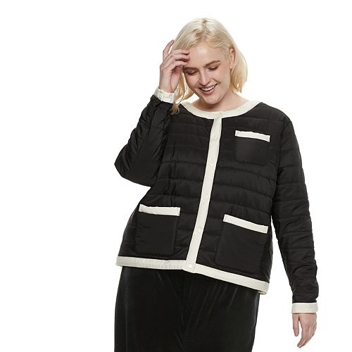 Plus Size POPSUGAR Colorblock Puffer Jacket