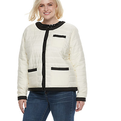 Plus Size POPSUGAR Colorblock Puffer Jacket
