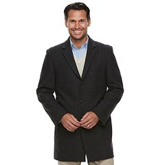 Men's Ike Behar Tailored-Fit Herringbone Wool-Blend Top Coat