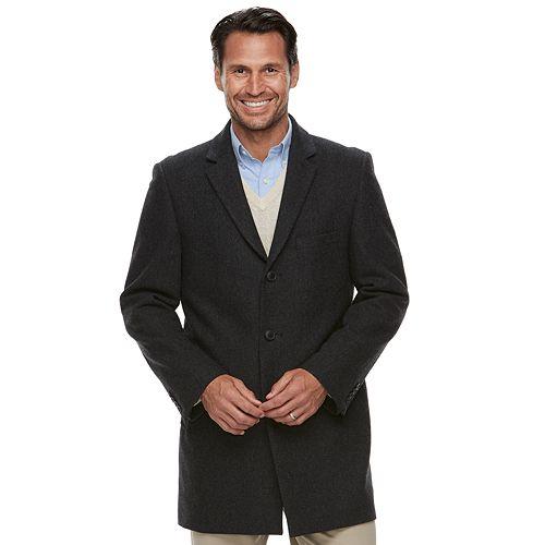 Men's Ike Behar Tailored-Fit Herringbone Wool-Blend Top Coat
