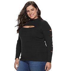 Plus Size Jennifer Lopez Slash-Sleeve Mockneck Top