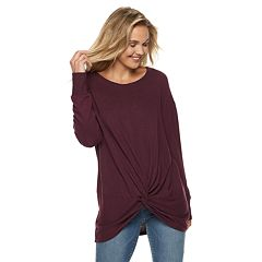 Juniors' Miss Chievous Cozy Oversized Twist-Front Tunic