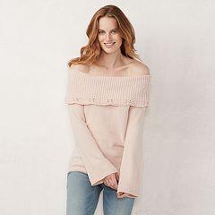 Women's LC Lauren Conrad Off-the-Shoulder Chenille Sweater