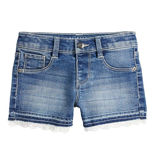 Girls 4-12 SONOMA Goods for Life™ Crochet-Hem Denim Shortie Shorts