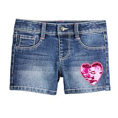 Girls 4-12 SONOMA Goods for Life™ Flip-Sequin Heart Denim Shortie Shorts