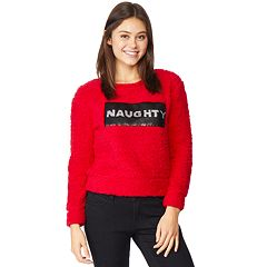 Juniors' WallFlower Holiday Sherpa Pullover Top