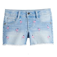 Girls 4-12 SONOMA Goods for Life™ Flamingo-Embroidered Denim Shortie Shorts