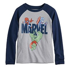 Toddler Boy Marvel Spider-Man, Captain America & The Hulk Raglan Graphic Tee