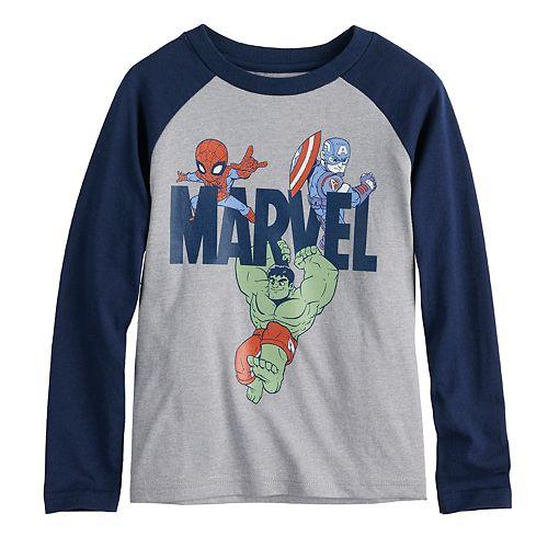 Toddler Boy Marvel Spider-Man, Captain America & The Hulk Raglan Graphic Tee