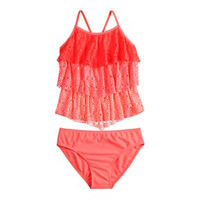Girls 4-16 & Plus Size SO® Coral Crochet Tankini Top & Bottoms Swimsuit Set