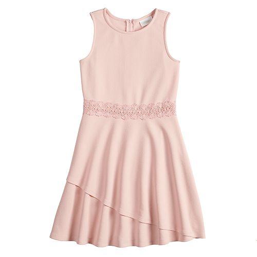 Girls 7-16 Lavender Lace Accent Dress