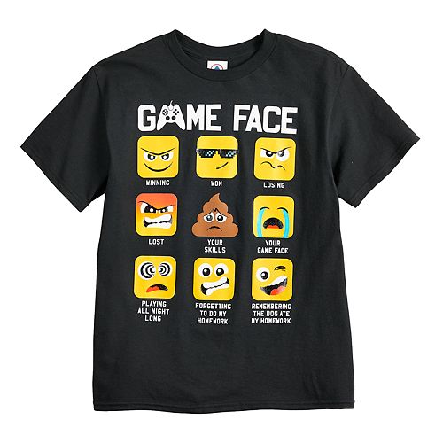 "Boys 8-20 ""Game Face"" Emoji Graphic Tee"