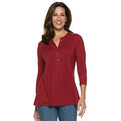 Women's Croft & Barrow® Pleat Front Henley Top