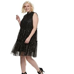 Plus Size POPSUGAR Metallic Star Tiered Party Dress