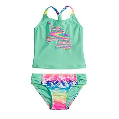 Girls 4-16 & Plus Size SO® Flip Sequin Unicorn Top & Bottoms Swimsuit Set