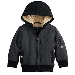 Toddler Boy Urban Republic Wool Bomber Hooded Midweight Jacket