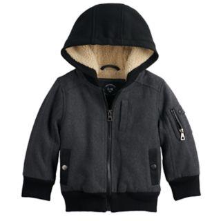 Toddler Boy Urban Republic Wool Bomber Hooded Midweight Jacket