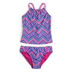 aea1b83720 Girls 7-16 SO® Global Chevron Tankini Top   Bottoms Swimsuit Set
