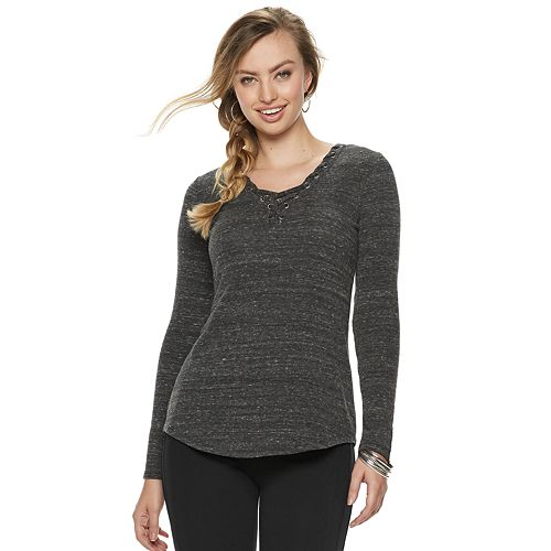 Women's Rock & Republic® Whipstitch Lace-Up Top