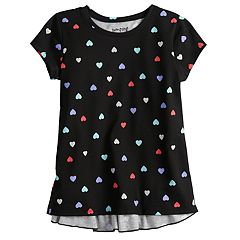 Girls 4-12 Jumping Beans® Short-Sleeve Glitter Graphic Ruffled-Back Tee