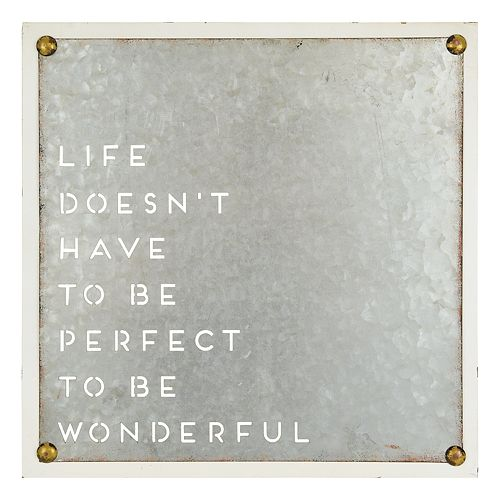 """Belle Maison """"Life Doesn't Have To Be Perfect"""" Wall Decor"""