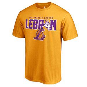 best website 032a6 09acc Men's Los Angeles Lakers Lebron James Name & Number Tee