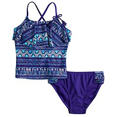 Girls 7-16 & Plus Size SO® Indigo Blaze Flounce Tankini Top & Bottoms Swimsuit Set