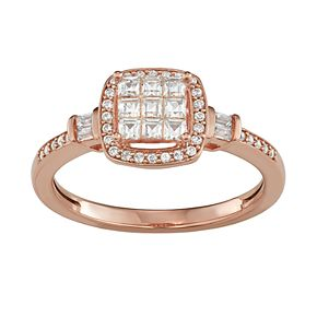 Lovemark 10k Rose Gold 1/2 Carat T.W. Diamond Halo Engagement Ring