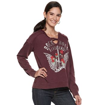 "Women's Rock & Republic® ""Rock & Roll Live Fast"" Hooded Sweatshirt"
